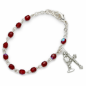 3mm January Garnet Birthstone Rosary Beads First Communion Bracelet w/ Chalice & Crucifix Charms