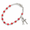 3mm July Ruby Birthstone Rosary Beads First Communion Bracelet with Chalice and Crucifix