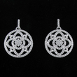 "7/8"" Round Silver Plated Rhodium Finish CZ Pave Crystal Stone Earrings"