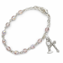3mm June Alexandrite Birthstone Rosary Beads First Communion Bracelet with Chalice and Crucifix Charms