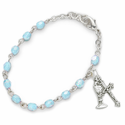 3mm March Aquamarine Birthstone Rosary Beads First Communion Bracelet w/ Chalice & Crucifix Charms