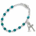 3mm May   Emerald Birthstone Rosary Beads First Communion Bracelet with Chalice and Crucifix Charm