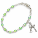 3mm August  Peridot Birthstone Rosary Beads First Communion Bracelet with Chalice and Crucifix Charms
