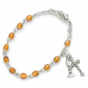 3mm November Topaz Birthstone Rosary Beads First Communion Bracelet with Chalice and Crucifix Charms
