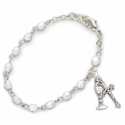 3mm April White Crystal Birthstones Rosary Beads First Communion Bracelet w/ Chalice & Crucifix Charms