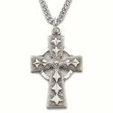 "Sterling Silver Engraved Celtic Cross Necklace on 24"" Chain"