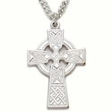 "Sterling Silver Celtic Cross Necklace on 24"" Chain"