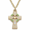 "14K Gold Filled Green Enameled Celtic Cross Necklace on 18"" Chain"