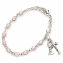 3mm October Rose Birthstone Rosary Beads First Communion Bracelet with Chalice and Crucifix Charms