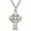 "Sterling Silver Celtic Cross Necklace with Green Enamel on 18"" chain"