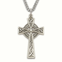 "Sterling Silver Celtic Knot Cross Necklace on 24"" Chain"