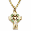 14K Gold Filled Green Enameled Girl's Celtic Cross Necklace