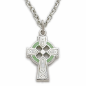 "Sterling Silver  Girl's Celtic Cross Necklace Green Enamel on 16"" Chain"
