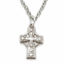 "Sterling Silver Celtic Cross Necklace on 16"" Chain"