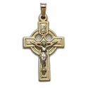 "1"" 14K Gold Celtic Crucifix Pendant"