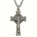 "Sterling Silver  Engraved Celtic Crucifix on 24"" Chain"