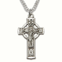"Sterling Silver Engraved Celtic Crucifix Necklace on 20"" Chain"