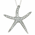 Sterling Silver Starfish Necklace with Crystal CZ Stones