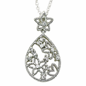 Small Sterling Silver Starfish Necklace with Crystal CZ Stones