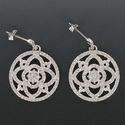 """7/8"""" Round Silver Plated Rhodium Finish CZ Pave Crystal Stone Earrings"""