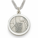 "Sterling Silver Boy's Basketball Medal, St. Christopher on Back on 20"" Chain"