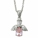 "Sterling Silver October Rose Birthstone Angel Wing Necklace on 18"" Chain"