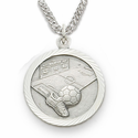 "Sterling Silver Soccer Medal, St. Christopher on back on 20"" Chain"