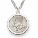 Sterling Silver Boy's Wrestling Medal, St. Christopher on Back