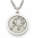 "Sterling Silver Boy's Karate Medal, St. Christopher on Back on 20"" Chain"