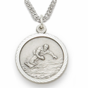 Sterling Silver Boy's Snowboarding Medal St. Christopher on Back