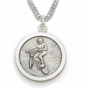 Sterling Silver Boy's Off Road Bike Medal St. Christopher on Back