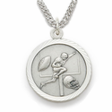 Sterling Silver Boy's Football Player Medal, St. Christopher on Back