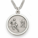 Sterling Silver Boy's Basketball Player Medal, St. Christopher on Back