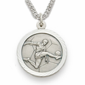 Sterling Silver Boy's Soccer Player Medal, St. Christopher on Back