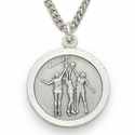 "Sterling Silver Girl's Basketball Medal, St. Christopher on Back on 18"" Chain"