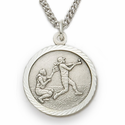 Sterling Silver Girl's Softball Medal, St. Christopher on Back