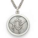 "Sterling Silver Girl's Gymnastic Medal, St. Christopher on Back, 18"" Chain"