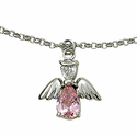 Sterling Silver OctoberRose  Birthstone Angel Wing Bracelet