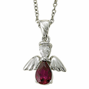 "Sterling Silver July Ruby Birthstone Angel Wing Necklace on 18"" Chain"