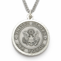 "Men's Sterling Silver Air Force Medal, St. Michael on Back on 24"" Chain"