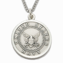 "Men's Sterling Silver Navy Medal, St. Michael on Back, 24"" Chain"