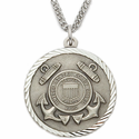 "Men's Sterling Silver U.S. Coast Guard Medal, St. Michael on Back on 24"" Chain"
