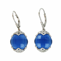 Sterling Silver Rodium Earrings Glass Sapphire Facetted Stone with Crystal CZ Accents