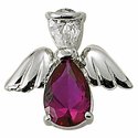 Sterling Silver July Ruby Birthstone Angel Wing Pin