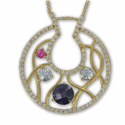 24K Gold /Sterling Silver Horseshoe Necklace w/ Amethyst CZ Stones