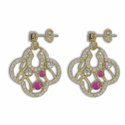 24K Gold/Sterling Silver Round Cross Earrings w/ Amethyst CZ Stones
