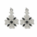 Sterling Silver Iron Cross Earrings w/ Crystal CZ Stones & Onyx Accents