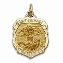 3/4 Inch 14k Gold Small Shield St. Michael Medal, Patron of Police Officers