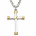 "Sterling Silver  Rhodium Finish Cross Necklace in a TwoTone Rope Ends Design on 20"" Stainless Steel Rhodium Finish Chain"