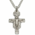 Sterling Silver Crucifix Necklace in a San Damiano Style Design